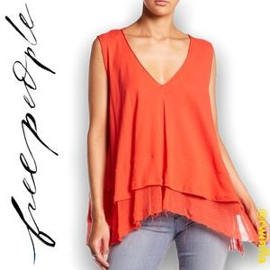 Peachy Tank Top Hot Coral Frayed Hi Lo Hem NWT New